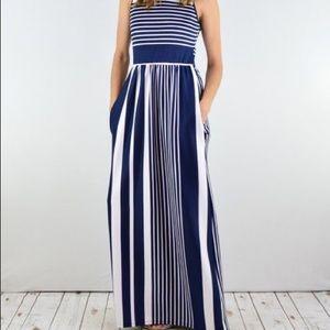 Navy Stripe Side-Pocket Maxi Dress